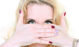 Arabic makeup and fashion manicure Royalty Free Stock Image