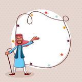 Arabic man and blank frame for Eid festival celebration. Happy Arabic man and stars decorated blank rounded frame for famous Islamic festival, Eid celebration Royalty Free Stock Photos