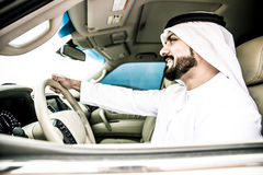 Arabic man in his car Royalty Free Stock Images