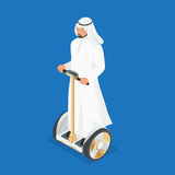 Arabic man on self-balancing electric scooter. 3d flat isometric vector illustration. Electric scooters, self balancing Stock Photos