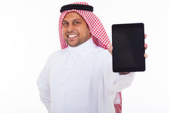 Arabic man tablet Royalty Free Stock Photography