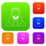 Arabic man in traditional muslim hat set collection Stock Images