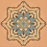 Arabic mandala. Flourish tiled floral geometric seamless pattern. Abstract oriental background. Wonderland ornament motives of the paintings of arabic mandala Stock Image