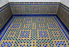 Arabic marble floor mosaic tile background Bahia palace floor. Ancient Arabic marble tile background texture,  Bahia palace floor Stock Photography