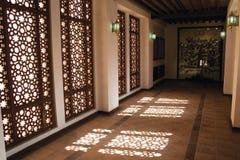 Arabic Mashrebia Window and Corridor. A corridor of an Arabic building with Mashrebia window Stock Image