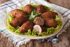 Arabic meat appetizer kibbeh close-up on a plate. horizontal Stock Photography