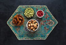 Arabic meatballs with bulgur. View from the top. stock photo