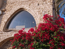 Arabic Mediterranean style stone house. With arched window Royalty Free Stock Images