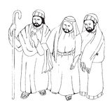Arabic men. Hand drawn sketch vector illustration on white background. Royalty Free Stock Image