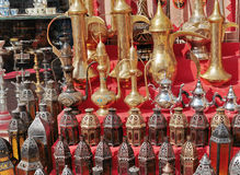 Arabic metal lights and kettles on the market Stock Photo