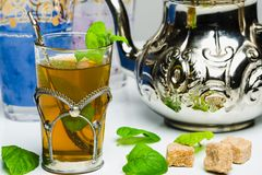 Arabic mint tea. In a traditional decorated cup Stock Photo
