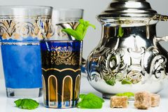 Arabic mint tea. In a traditional decorated cup Royalty Free Stock Photo