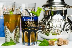 Arabic mint tea. In a traditional decorated cup Royalty Free Stock Photography