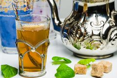 Arabic mint tea. In a traditional decorated cup Stock Images