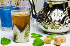 Arabic mint tea. In a traditional decorated cup Stock Photos