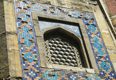 Arabic mosaic window decoration. Arabic blue mosaic window decoration. Muslim religious arcitecture Royalty Free Stock Photography