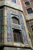 Arabic mosaic window decoration. Arabic blue mosaic window decoration. Muslim religious arcitecture Stock Photo