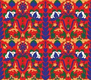 Arabic mosaica flower orange red pattern vector illustration
