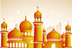 Arabic mosque on shiny light background. Royalty Free Stock Photography