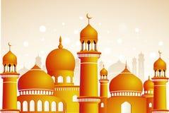 Arabic mosque on shiny light background. Ramadan Kareem Royalty Free Stock Photography