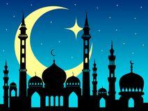 Arabic mosque silhouette magic night background. Or backdrop Royalty Free Stock Photos