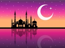 Arabic mosque silhouette magic night background. Or backdrop Stock Image