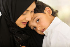 Arabic mother boy. Beautiful Arabic mother and little boy Royalty Free Stock Photo