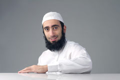 Arabic Muslim man with beard smiling Royalty Free Stock Photos