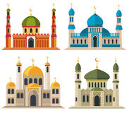 Arabic muslim mosques and minarets vector illustration