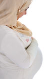 Arabic Muslim pregnant woman Stock Images