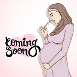 Arabic muslim pregnant woman in hijab prepared for maternity. Stock Photography