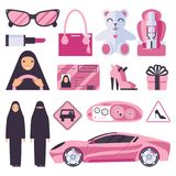 Arabic muslim women that have permission for driving auto. Lady in nikab and hijab with pink accessories, car, signs and heels sho vector illustration