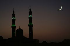Arabic Night. Mosque in the late evening, Hurghada, Egypt Royalty Free Stock Images