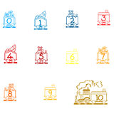 Arabic Numbers, Arithmetic operations and currencies symbols  Stock Photo