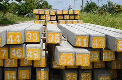 Arabic numbers on concrete sleepers. For railway construction stock images