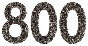Arabic numeral 800, eight hundred, from black a natural charcoal Stock Photo