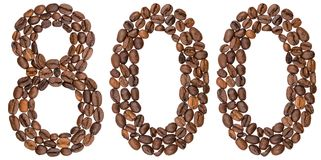 Arabic numeral 800, eight hundred, from coffee beans, isolated o. N white background Royalty Free Stock Photos