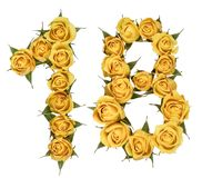 Arabic numeral 18, eighteen, from yellow flowers of rose, isolated on white background.  stock images