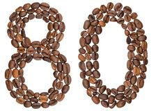 Arabic numeral 80, eighty, from coffee beans, isolated on white. Background Royalty Free Stock Photography