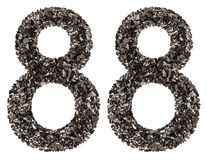 Arabic numeral 88, eighty eight, from black a natural charcoal, Royalty Free Stock Images