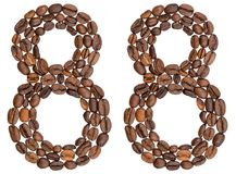 Arabic numeral 88, eighty eight, from coffee beans, isolated on. White background Royalty Free Stock Photography