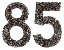 Arabic numeral 85, eighty five, from black a natural charcoal, i Stock Images