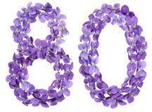 Arabic numeral 80, eighty, from flowers of viola, isolated on wh. Ite background Royalty Free Stock Photo