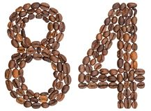 Arabic numeral 84, eighty four, from coffee beans, isolated on w. Hite background Royalty Free Stock Image