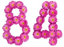 Arabic numeral 84, eighty four, from flowers of chrysanthemum, i. Solated on white background Stock Photos