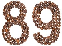 Arabic numeral 89, eighty nine, from coffee beans, isolated on w. Hite background Stock Photos