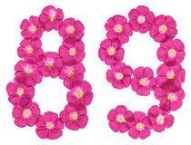 Arabic numeral 89, eighty nine, from pink flowers of flax, isolated on white background royalty free illustration