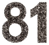 Arabic numeral 81, eighty one, from black a natural charcoal, is Stock Image