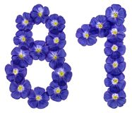 Arabic numeral 81, eighty one, from blue flowers of flax, isolat Royalty Free Stock Photo