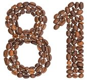 Arabic numeral 81, eighty one, from coffee beans, isolated on wh. Ite background Stock Photo